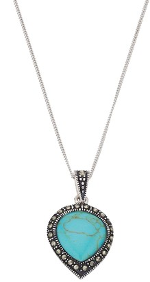 Tori HillSterling Silver Simulated Turquoise & Marcasite Teardrop Pendant