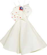 Vika Gazinskaya Bow-embellished Printed Cotton And Silk-blend Dress - Ivory