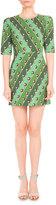 Mary Katrantzou Lion-Print Elbow-Sleeve Dress, Green