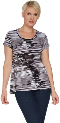 Halston H by Printed Scoop Neck Knit Top with Hi-Low Hem