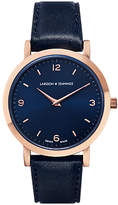 Larsson & Jennings LGN33-L-H-Q-P-RGN-O Women's Lugano Leather Strap Watch, Navy