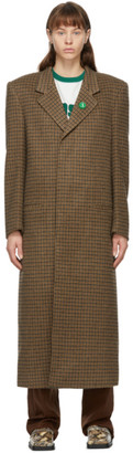 Martine Rose Brown Wool Houndstooth Rex Coat
