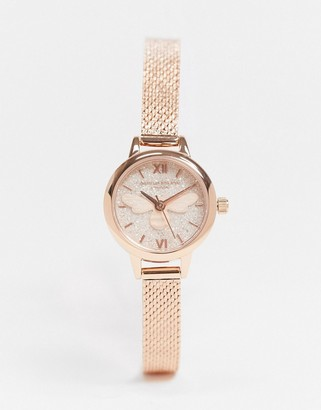 Olivia Burton OB16FB15 glitter dial lucky bee mesh watch in gold