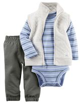 Carter's Baby Boy Quilted Vest, Bodysuit & Pants Set