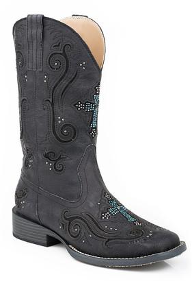 Roper Women's Western Boots BLACK - Black Square-Toe Cowboy Boot - Women