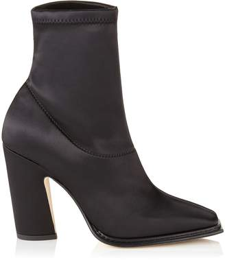 Jimmy Choo MICA 100 Black Stretch Satin Squared Closed Toe Boot