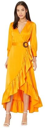 WAYF Savoia Belted Wrap Long Sleeve Midi Dress (Tangerine) Women's Dress