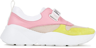 Emilio Pucci Monogram-trimmed Leather, Mesh And Suede Sneakers
