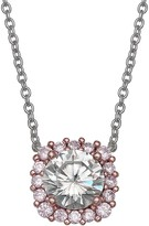 Primrose PRIMROSE Two Tone Sterling Silver Cubic Zirconia Square Halo Pendant Necklace