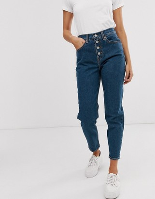 Levi's exposed button mom jeans in dark blue