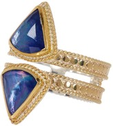 Anna Beck 18K Gold Plated Sterling Silver Double Row Lapis Triplet Ring - Size 5