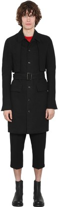 Rick Owens LINED SINGLE BREAST COTTON TRENCH COAT