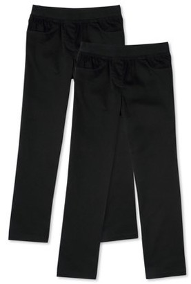 Wonder Nation Girls School Uniform Pull-On Pants, 2-Pack Value Bundle, Sizes 4-16