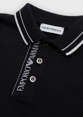 Emporio Armani Mercerised Pique Polo Shirt With Logo Placket