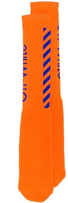 Off-White Contrast Intarsia Logo Socks