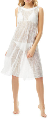 Carmen Marc Valvo High-Neck Sheer Coverup Dress