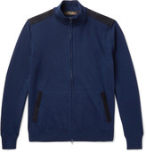 Loro Piana Suede-Trimmed Cashmere and Silk-Blend Zip-Up Cardigan