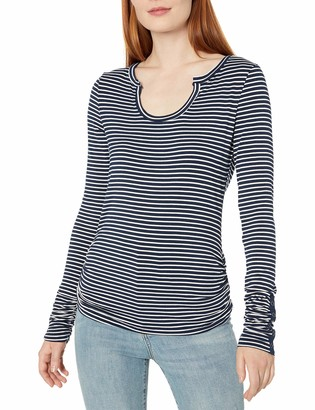 Democracy Women's Stripe Horse Shoe Neck Side Rouched Tee with Snap Tape Trim