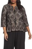 Alex Evenings Plus Size Women's Collarless Metallic Lace Jacket