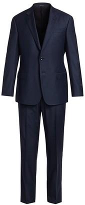 Giorgio Armani Micro Check Single-Breasted Wool Suit