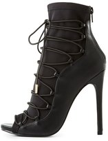 Charlotte Russe Peep Toe Lace-Up Dress Booties