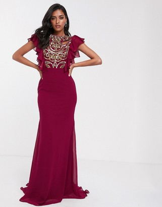 Virgos Lounge maxi dress with ruffle detail in deep pink