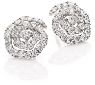 Hearts On Fire Lorelei Diamond & 18K White Gold Floral Stud Earrings