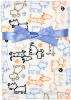 Cutie Pie Baby 30'' x 32'' Cream & Blue Dogs Velboa Stroller Blanket & Hanger