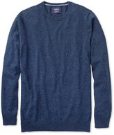 Indigo Mouline Cotton Cashmere Crew Neck Jumper Size Large By Charles Tyrwhitt
