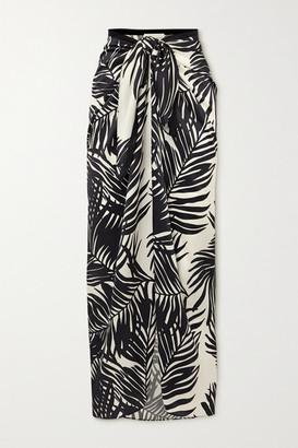 MARIE FRANCE VAN DAMME Printed Silk-satin Pareo - Black