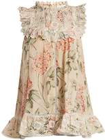 Zimmermann Prima Hydrangea-print broderie-anglaise cotton top