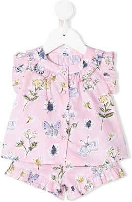 Il Gufo Butterfly-Print Shirt And Shorts Set