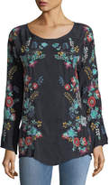 Johnny Was Kikimu Embroidered Georgette Blouse, Petite