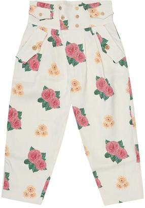 The Animals Observatory Camel floral linen-blend pants