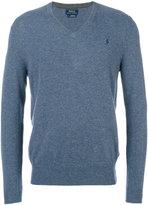 Polo Ralph Lauren logo embroidery V-neck jumper - men - Wool - S