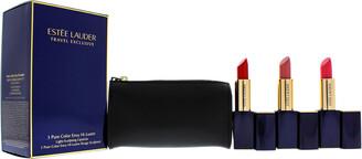 Estee Lauder Women's 4 Pc 110 Nude Reveal, 220 Sheer Sin, 320 Drop Dead Red 3 Pure Color Envy Hi-Lustre Lipsticks Set