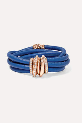 de Grisogono Allegra Leather, 18-karat Rose Gold And Diamond Bracelet