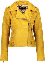 Steve Madden Mustard Asymmetrical-Zip Jacket