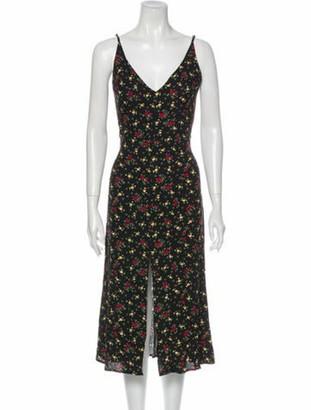 Reformation Floral Print Midi Length Dress w/ Tags Black