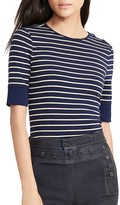 Lauren Ralph Lauren Stripe Lace-Up Shoulder Top