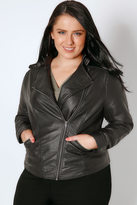 Yours Clothing Black PU Leather Look Biker Jacket
