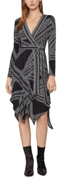 BCBGMAXAZRIA Striped Printed Asymmetrical-Hem Dress