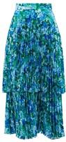 Richard Quinn Pleated Floral-print Satin Midi Skirt - Womens - Blue Print
