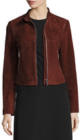 Theory Bavewick SM Wilmore Studded Suede Jacket, Chili