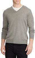 Polo Ralph Lauren V-neckline Knit Jumper, Metallic Grey Heather