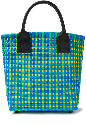 Truss Leather-trimmed Woven Tote