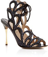 Studded Leather and Suede Sandals