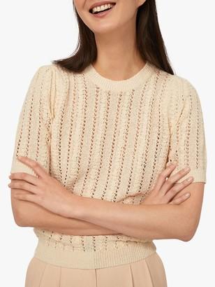 Warehouse Stitchy Boxy T-Shirt, Cream
