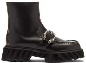 Gucci Hunder Dionysus-buckle Leather Boots - Black