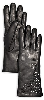 Bloomingdale's Embellished Leather & Cashmere Gloves